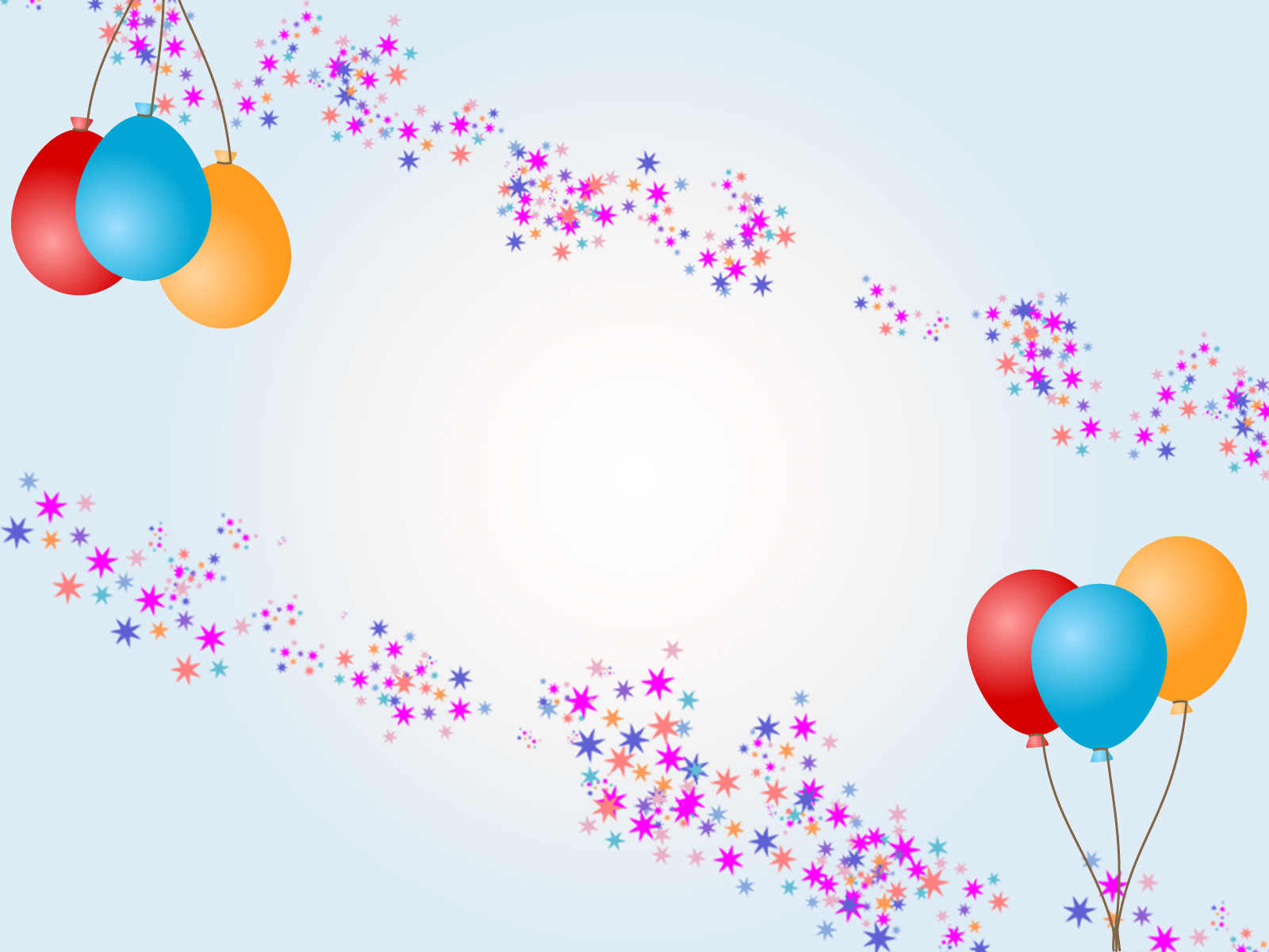 Balloons With Stars For Birthday Ppt Backgrounds Cartoon