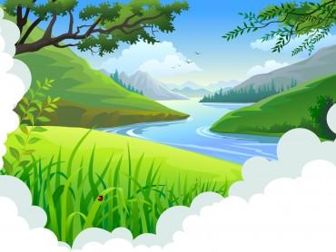 Cartoon Tropical Landscape
