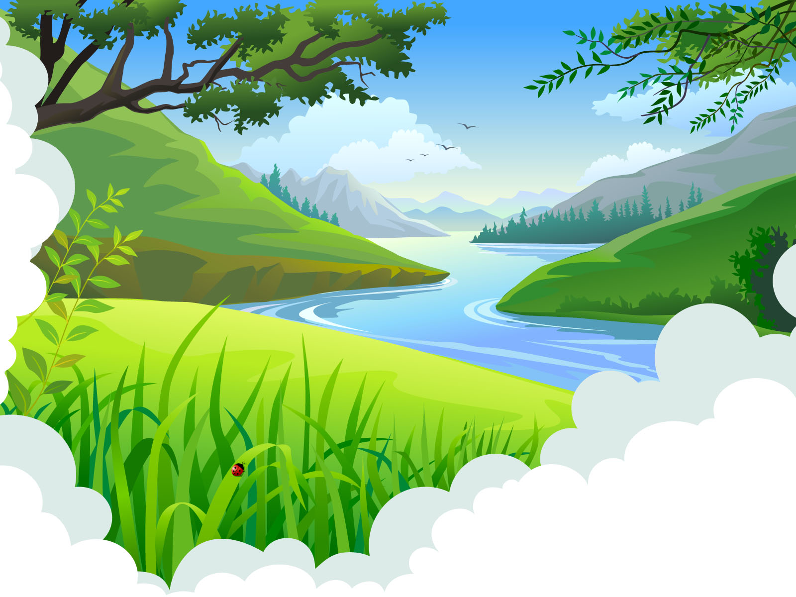 Cartoon tropical landscape backgrounds blue design for Tropical landscape