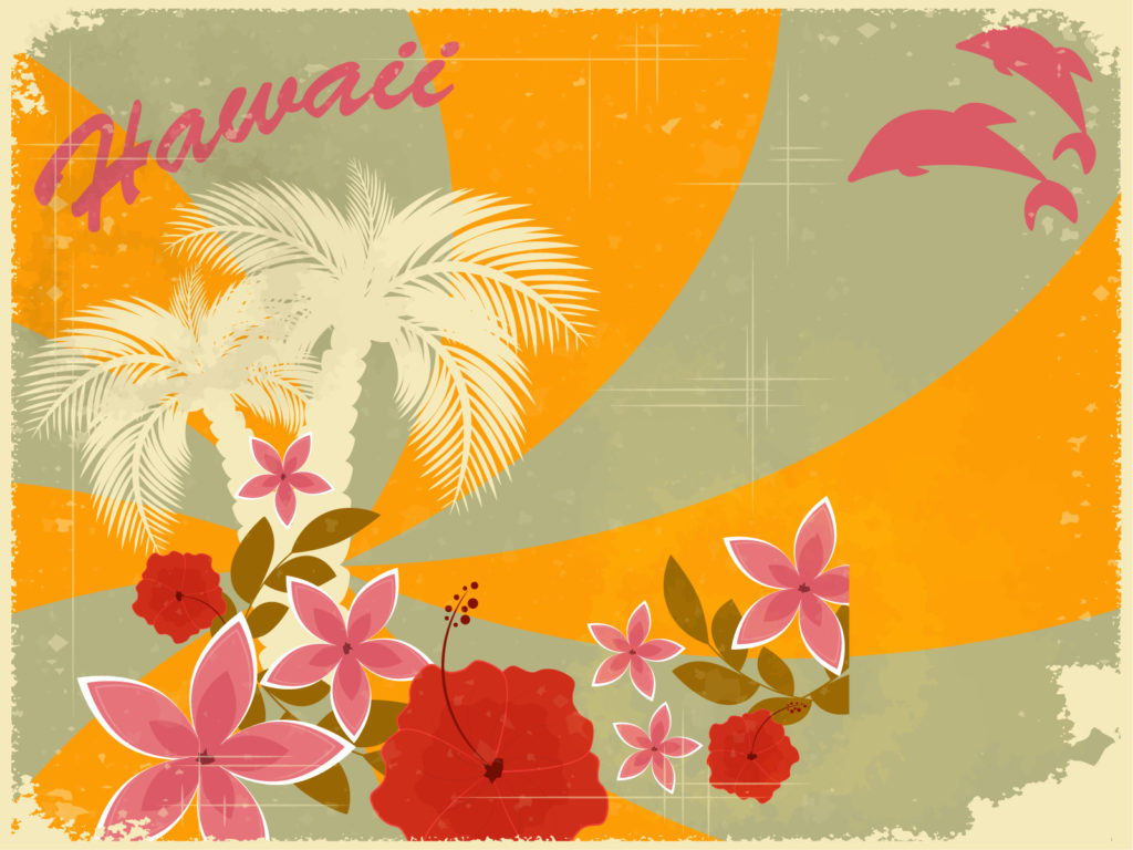 hawaiian retro holiday ppt backgrounds - design, holiday templates, Modern powerpoint