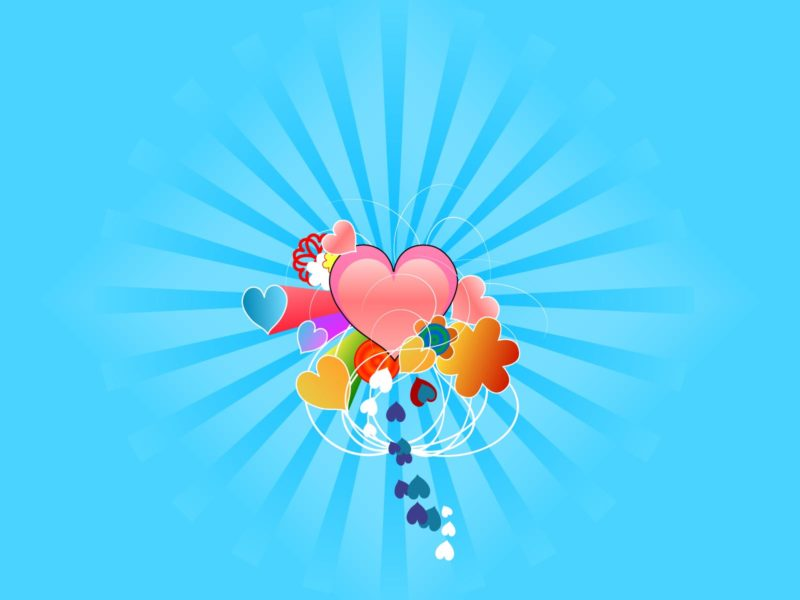 Hearts with Blue Rays Backgrounds