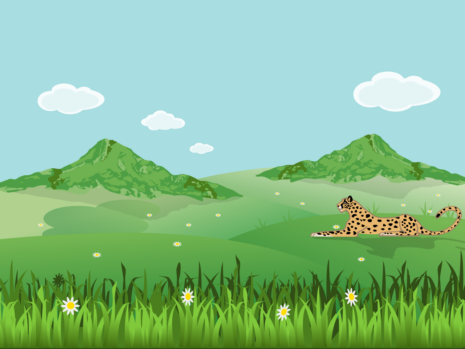 leopard on landscape backgrounds animals green nature templates free ppt grounds and. Black Bedroom Furniture Sets. Home Design Ideas