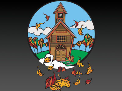 School In Fall Powerpoint Templates