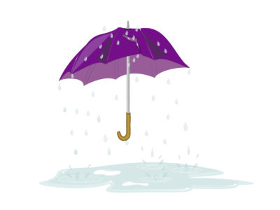Tattered Umbrella in Rain Backgrounds