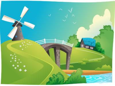 Wind Mill Landscape Nature Backgrounds