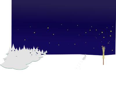 Winter Night Scene Powerpoint Templates