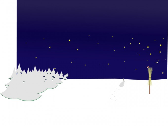 Winter Night Scene PPT Backgrounds