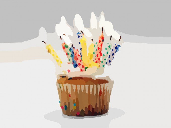 Blurred Birthday Cupcake Candles PPT Backgrounds