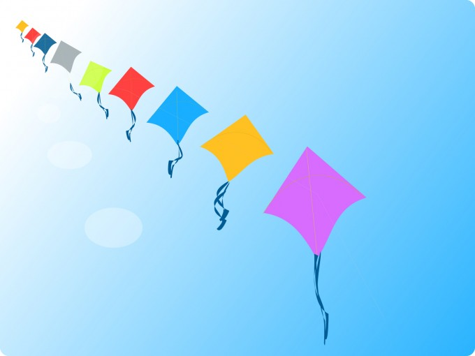 Row of Kites PPT PPT Backgrounds