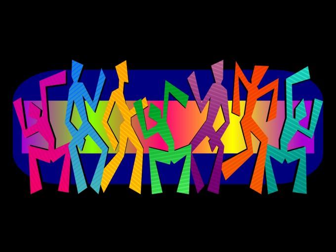 Simple Dancing Figures Design PPT Backgrounds