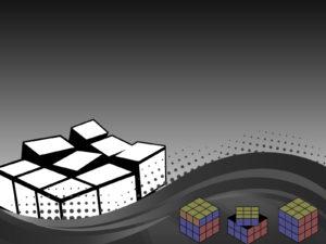 3D Dark Rubik Powerpoint Templates