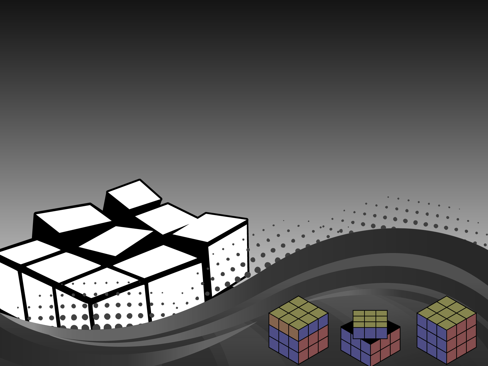 3D Dark Rubik Powerpoint Templates