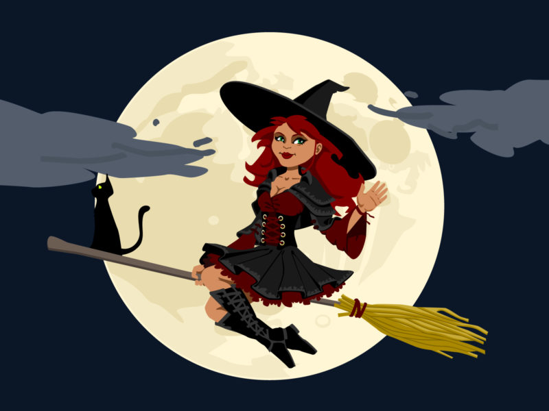 Cartoon Witch Backgrounds for Powerpoint