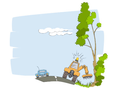 Cutting plants on Roadside Powerpoint Templates