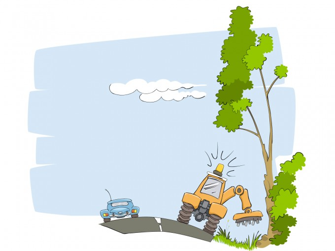 Cutting plants on Roadside PPT Backgrounds