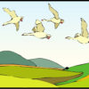 Geese Flying Over Landscape PPT Backgrounds