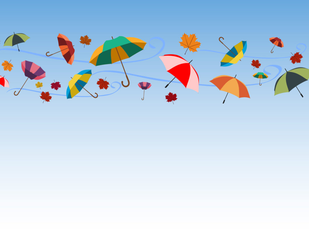 Umbrellas And Celebrations Ppt Backgrounds Blue Green