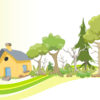 Vineyards, Orchards and Wooden House Backgrounds