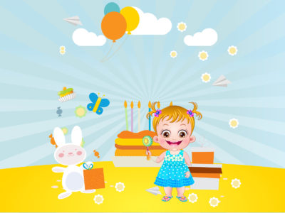 Baby Hazel Birthday Party Backgrounds