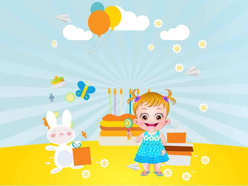Baby Hazel Birthday Party Backgrounds