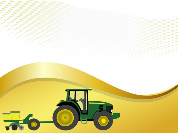 Farm tractor with planter PPT Backgrounds