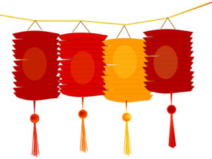 Paper Lanterns Items PPT Backgrounds