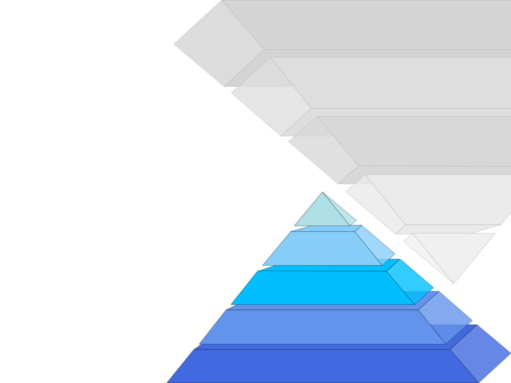 Pyramid pattern design ppt backgrounds 3d blue white templates normal resolution alramifo Images
