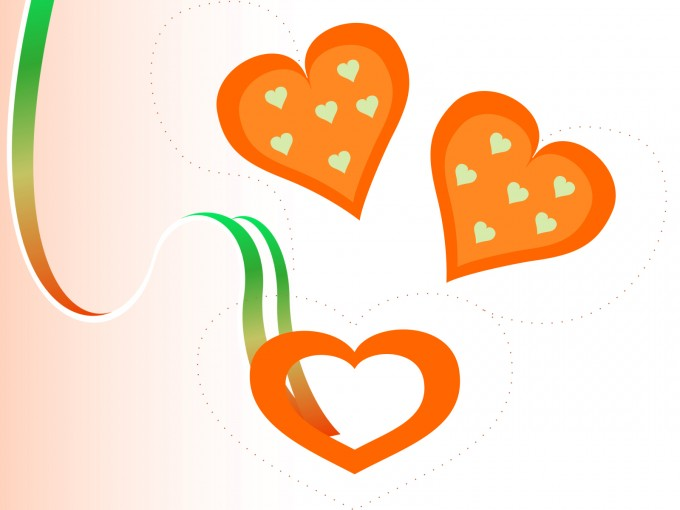 Valentine Orange Loves PPT Backgrounds