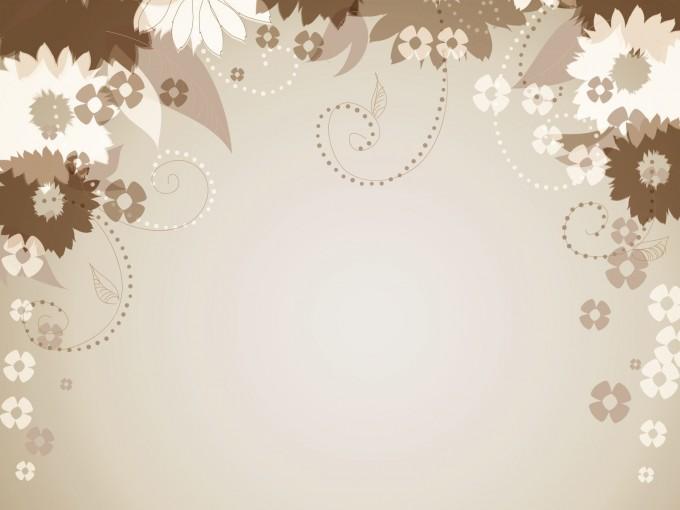 Brown floral decorative PPT Backgrounds