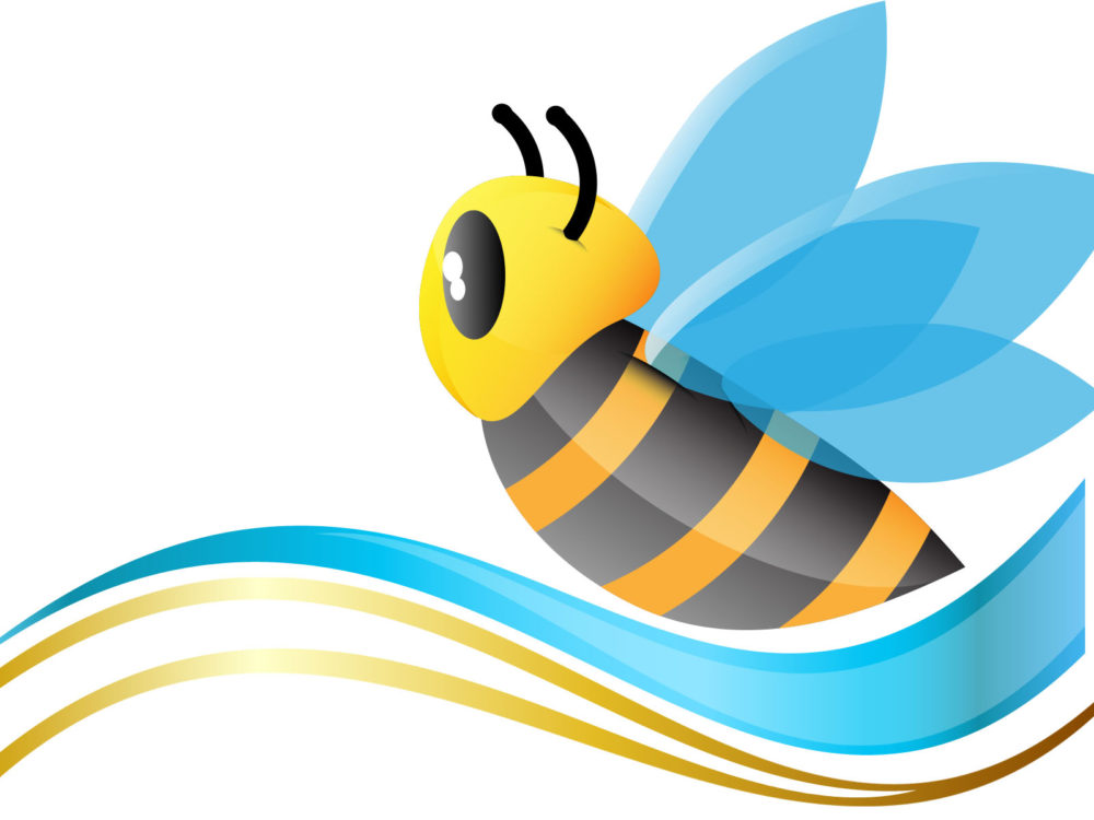 Cute Bee Backgrounds Animals Blue Yellow Templates