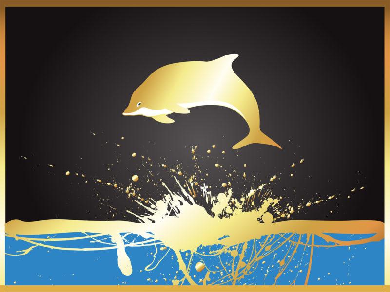 Golden Dolphin Powerpoint Backgrounds