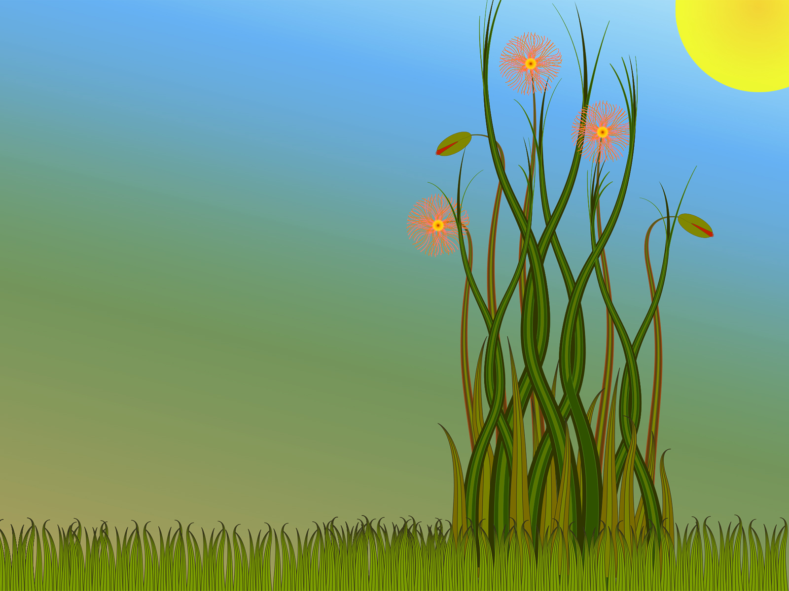 Grass and Flowers Powerpoint Templates