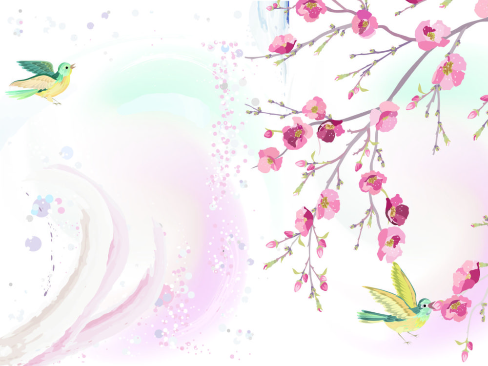 Hand painted spring floral birds backgrounds design flowers hand painted spring floral birds ppt backgrounds mightylinksfo