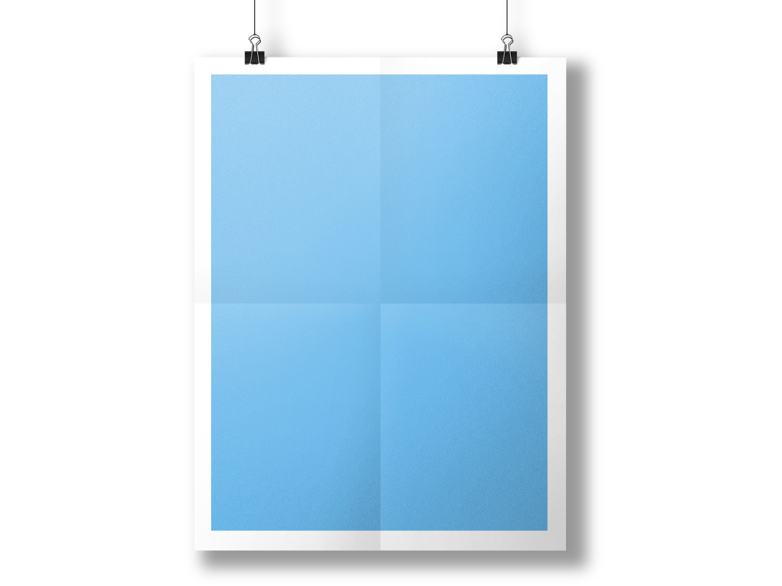 Hanging Paper Poster Mockup Ppt Backgrounds 3d Blue
