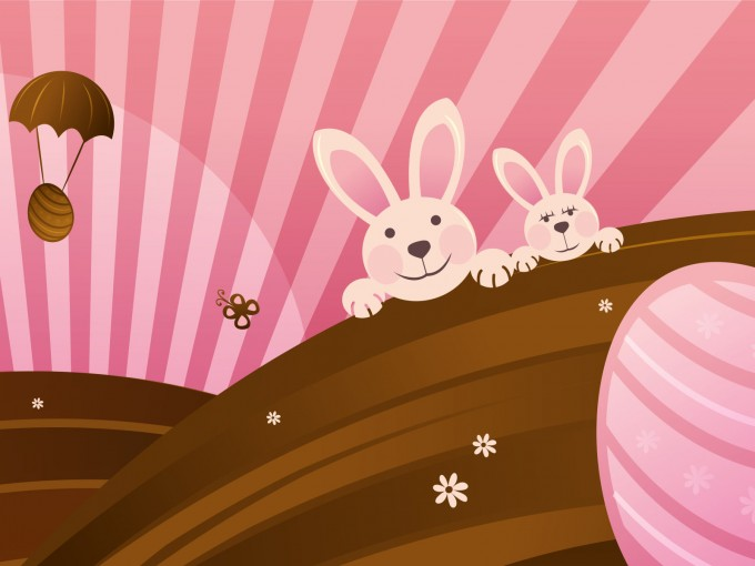 Happy Easter Pink PPT Backgrounds