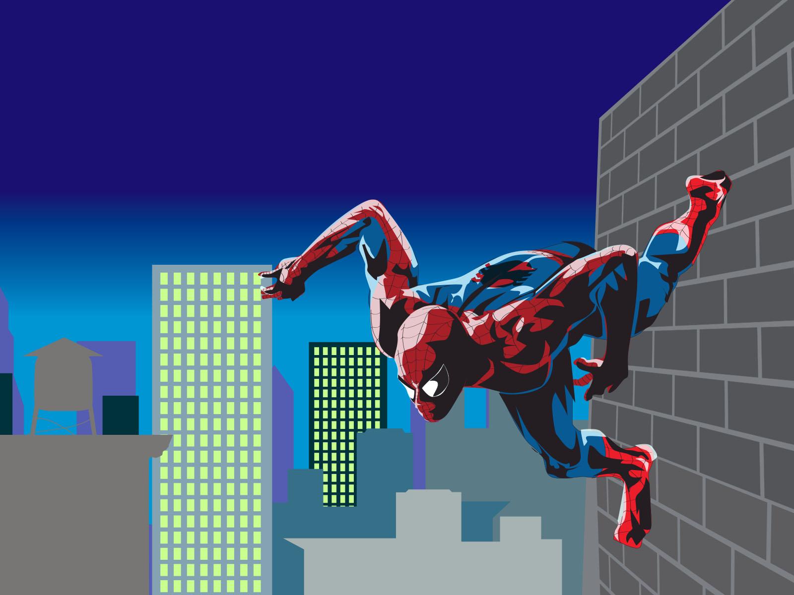 Marvel Spiderman Hero PPT Backgrounds - Blue, Movie & TV