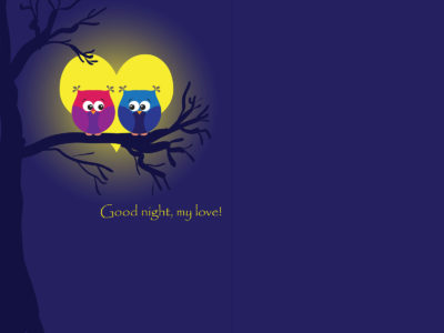 Owls in Moonlight Love Backgrounds