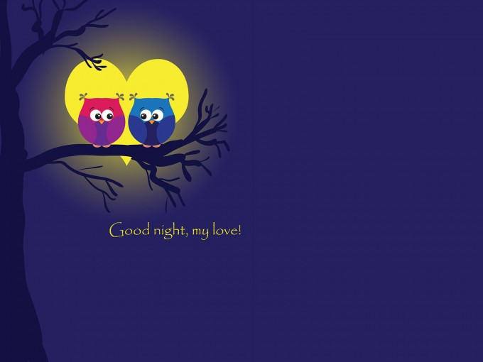 Owls in Moonlight PPT Backgrounds