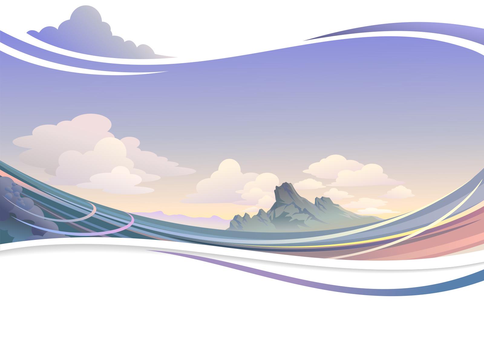Wavy Sky Landscape Backgrounds Blue Design Nature Navy White