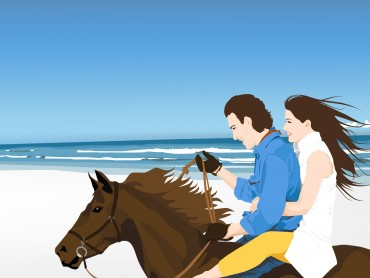 Beach Couple on Horse