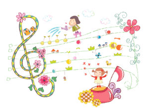 Cute Girls and Sheet Music Backgrounds