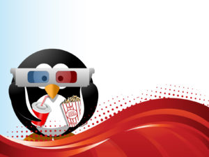 Cinema Penguin PPT Backgrounds