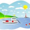 Fishing Boat Scene Backgrounds PPT