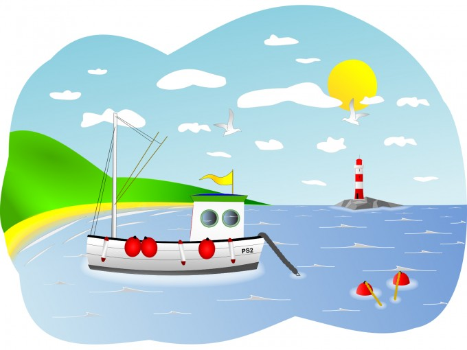 Fishing Boat Scene PPT Backgrounds