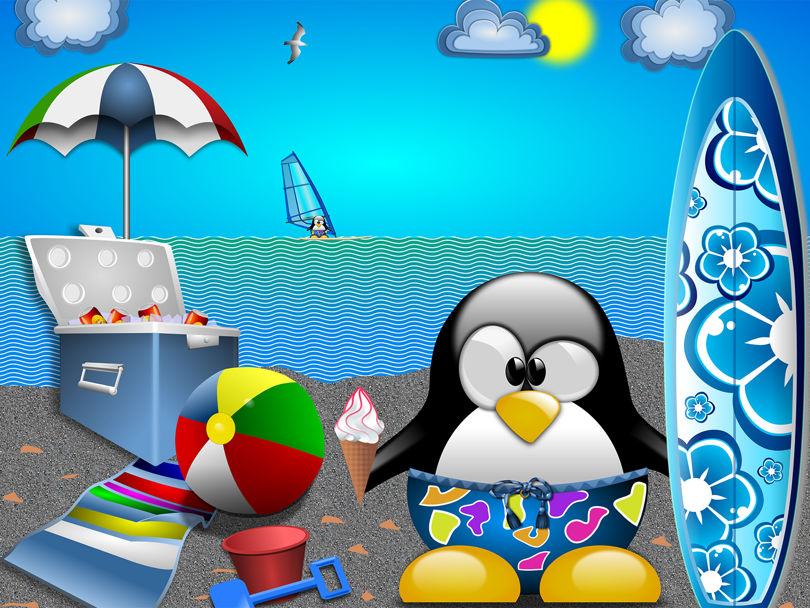 Tux at the Beach Backgrounds
