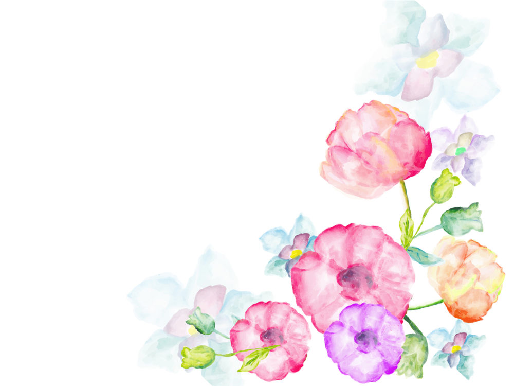 5274 Watercolor Flowers Greetings Backgrounds on Black Brown Border