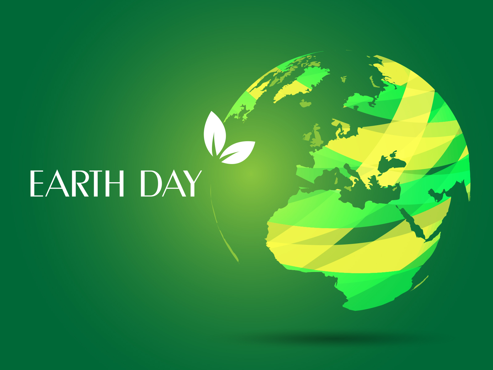 Earth Day Ppt Backgrounds 3d Green White Templates
