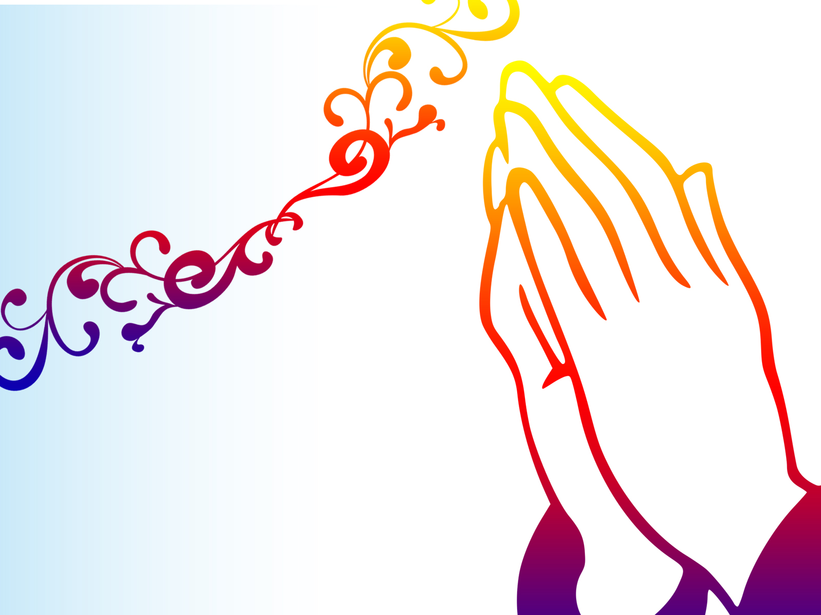 Praying Hands Backgrounds - Orange, Religious - PPT Backgrounds