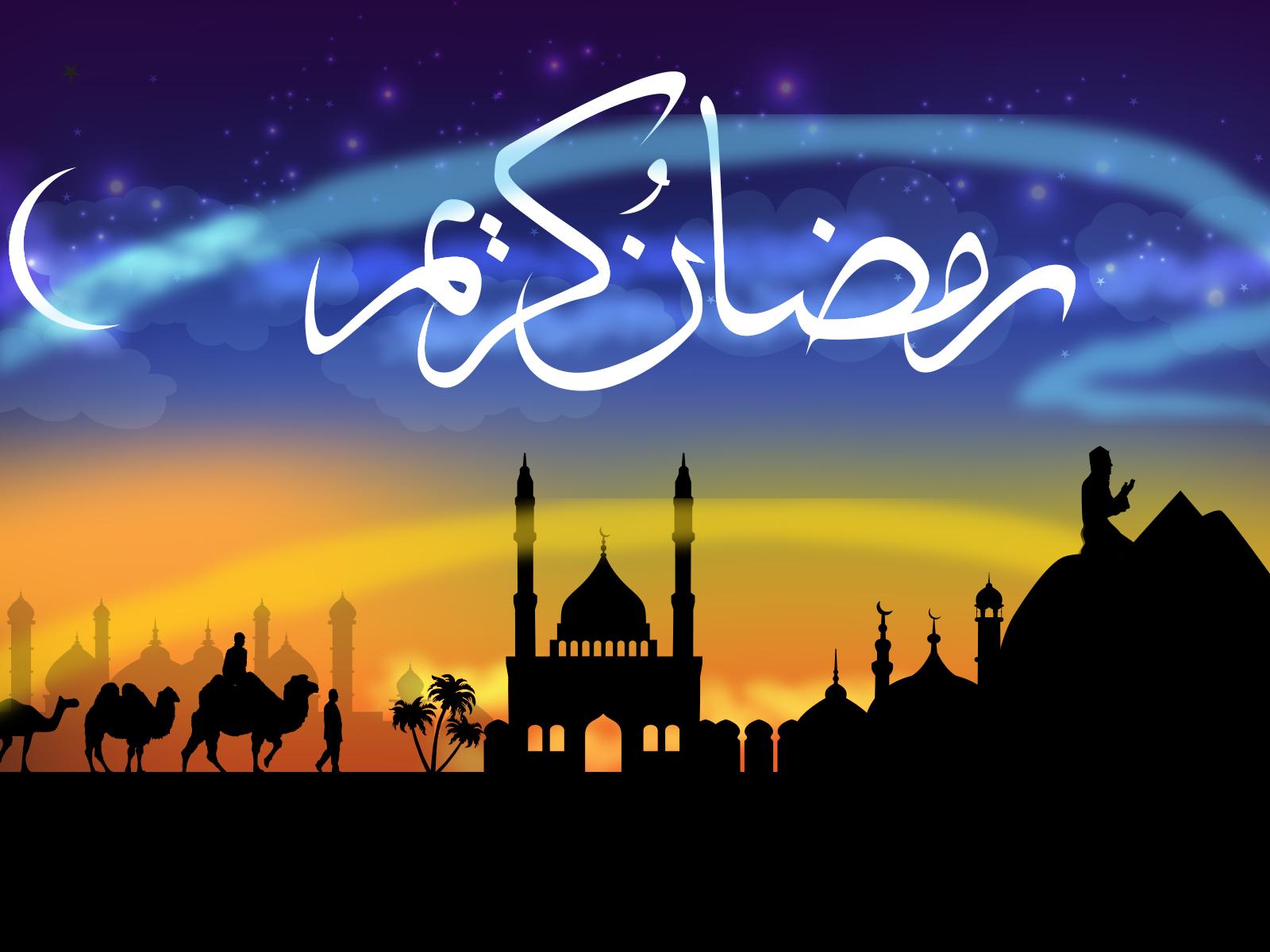 Ramadan Kareem Ppt Backgrounds Black Blue Orange