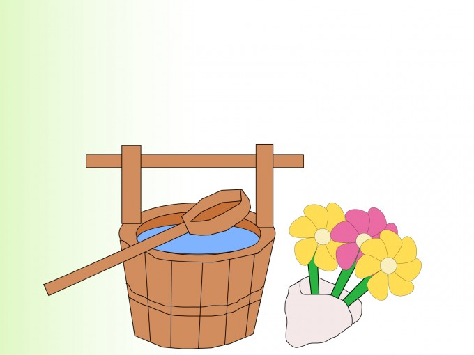 Bucket and Flowers PPT Backgrounds